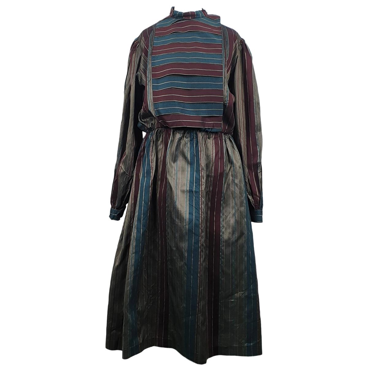 Non Signé / Unsigned Manche ballon Multicolour Silk dress for Women One Size FR