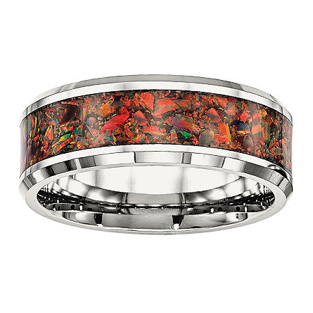 Mens Simulated Red Opal Stainless Steel Wedding Band, 11 , No Color Family