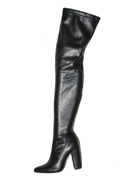 Milanoo Black Thigh High Boots Womens PU Pointed Toe Chunky Heel Over The Knee Boots