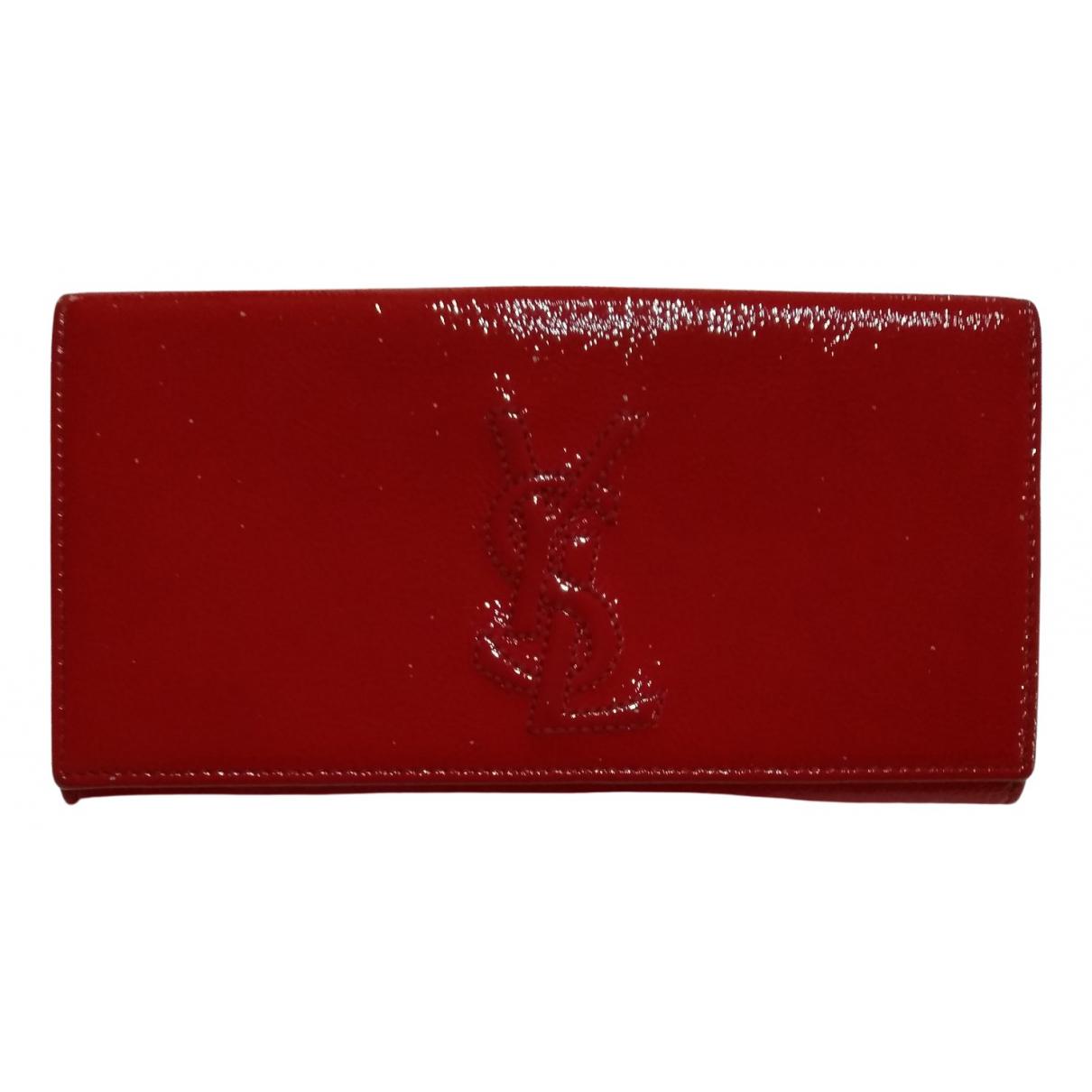 Yves Saint Laurent - Portefeuille Belle de Jour pour femme en cuir verni - rouge