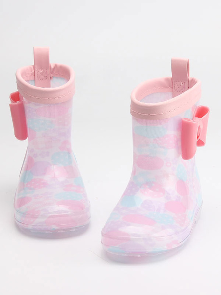 Milanoo Girl\'s Rain Boots Kids Children Cute Bow Clear Waterproof Skid-Resistant Rain Boots