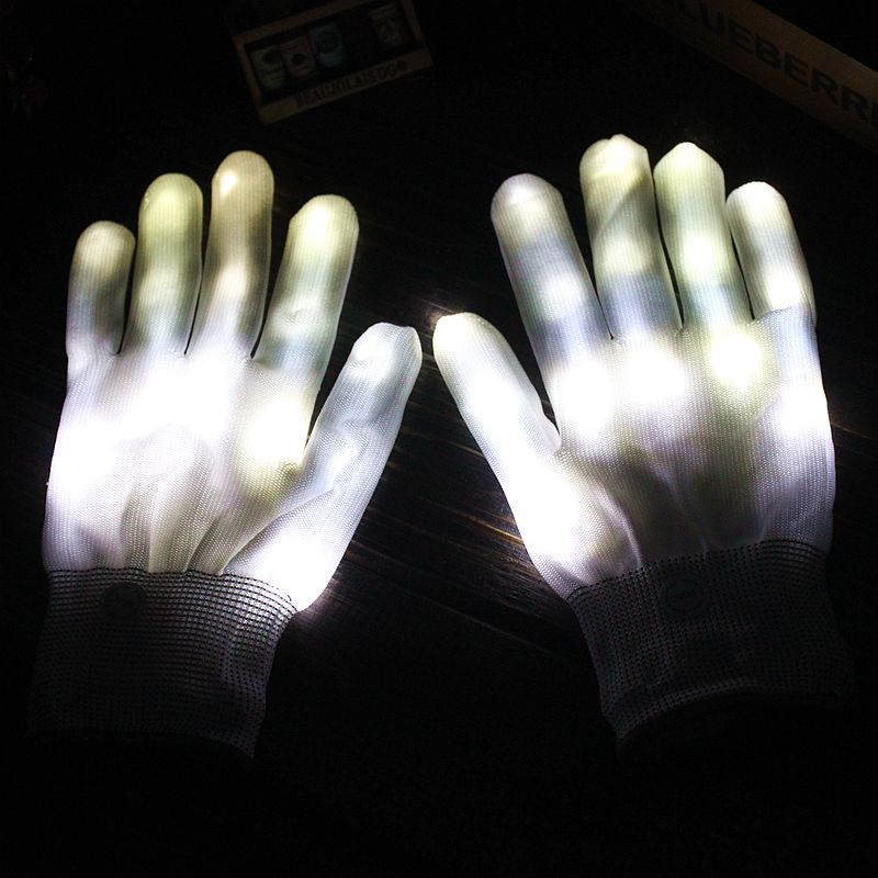 White Stage Performance Led Colorful Luminous Gloves