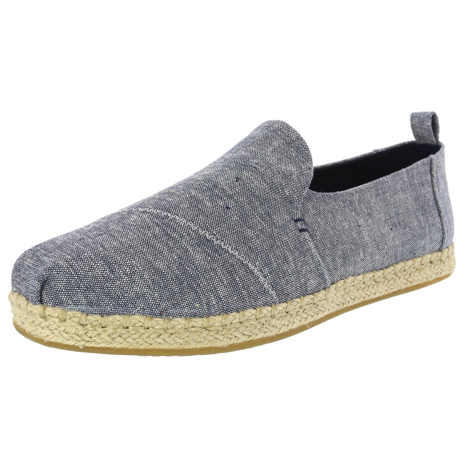 Toms Women's Deconstructed Alpargata Chambray Navy Ankle-High Canvas Slip-On Shoes - 9.5M