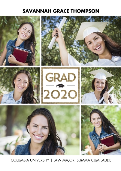 2020 Graduation Announcements 5x7 Cards, Premium Cardstock 120lb, Card & Stationery -2020 Grad Gold Square by Tumbalina