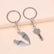 2 piezas llavero con diseño de llave y corazon