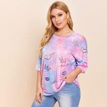 T-Shirt mit Herzen & Batik Muster