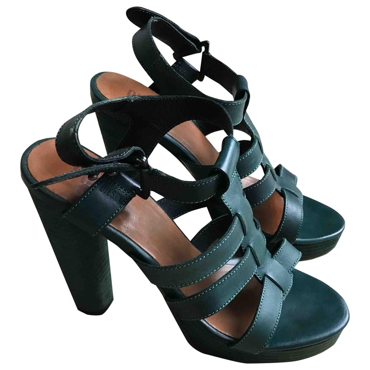 Diesel \N Green Leather Heels for Women 40 EU