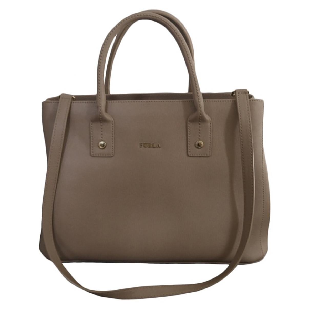 Furla Candy Bag Handtasche in  Beige Leder