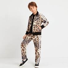 Conjunto cazadora de leopardo con cinta lateral de rayas con cremallera con pantalones