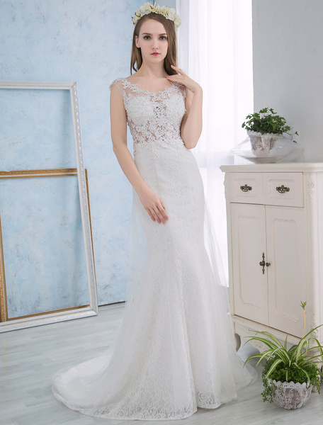 Milanoo Ivory Wedding Dresses Mermaid Lace Beach Summer Bridal Dress Beading Sleeveless Open Back Wedding Gown With Train