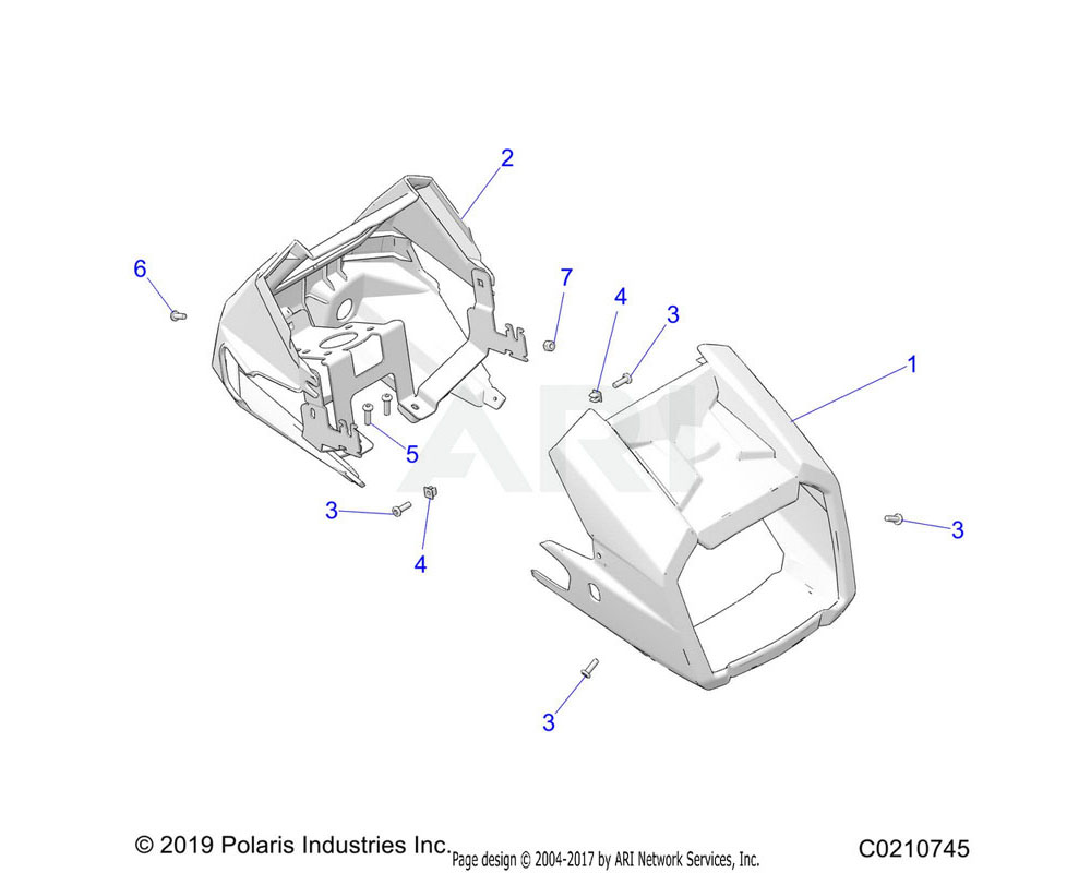 Polaris OEM 5451947-070 POD, HEADLIGHT, REAR, BLACK