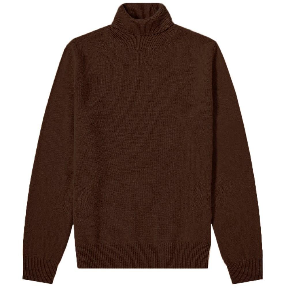 Maison Margiela Turtle Neck Patch Pullover Jumper Colour: DARK BROWN, Size: SMALL
