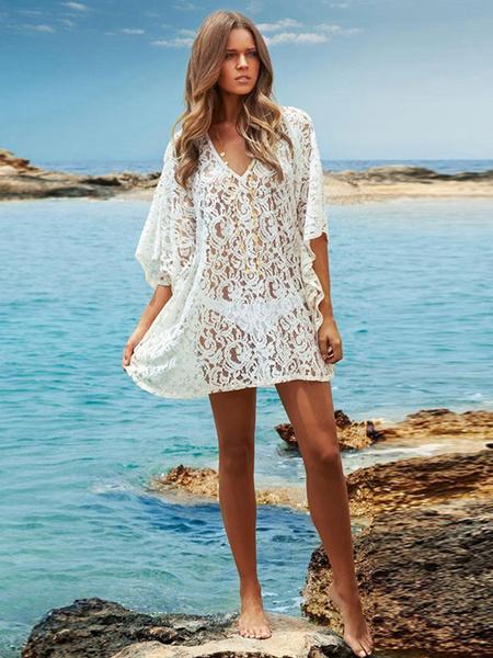 Milanoo Mujeres blancas Beachwear V cuello media manga manga flare Lace Cover Up