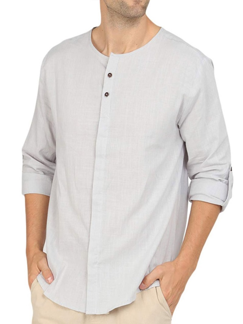 Ericdress Plain Button Mens Loose Single-Breasted Shirt