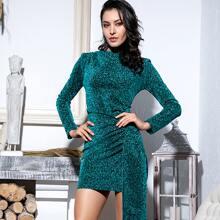 Cut-out Back Draped Glitter Bodycon Dress
