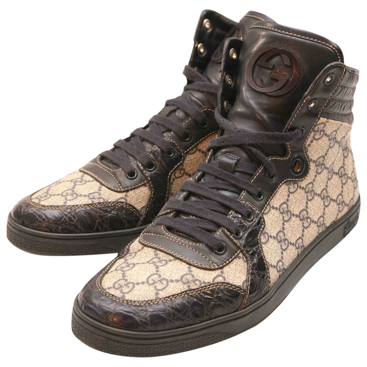 Gucci \N Beige Cloth Trainers for Men 9 UK