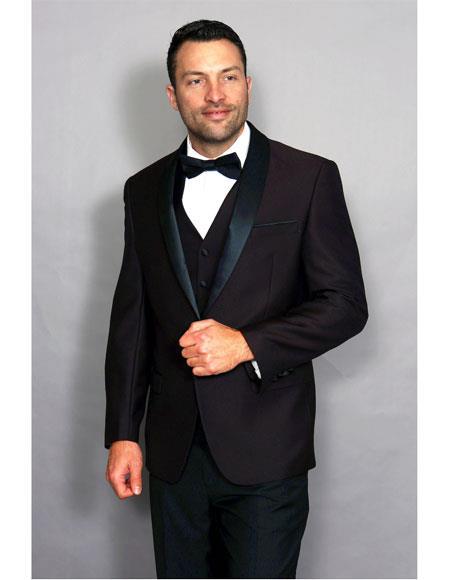 Men's 1 Button Plum Double Breasted Vest Black Shawl Lapel Suit
