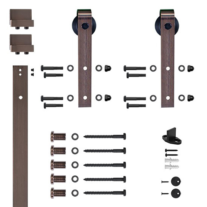 96 in. Soft-Close Oil Rubbed Bronze Hook Strap Rolling Door Hardware Kit for Wood Door