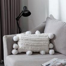 Pom Pom Lumbar Pillow Cover Without Filler