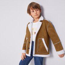 Mantel mit Kontrast Futter, Taschen vorn, einreihigen Knopfen und Wildleder