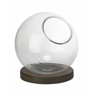 "Clear Decorative Glass Globe with Burnt Wood Base (14"")"