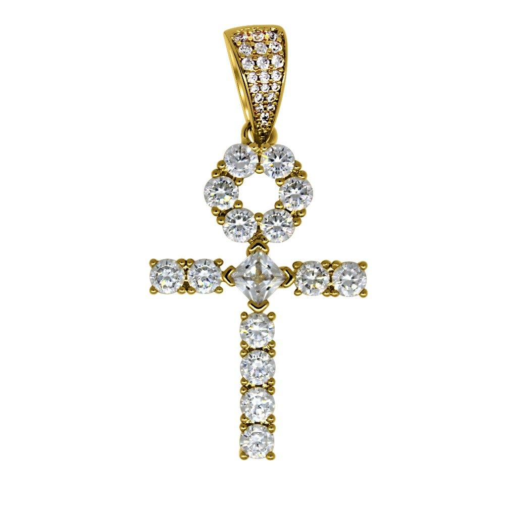 Custom Tennis Ankh Cross Gold Pendant