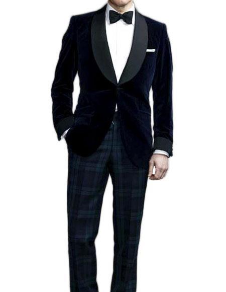 Mens Colin Firth Kingsman Single Breasted Blue Shawl Lapel Jacket