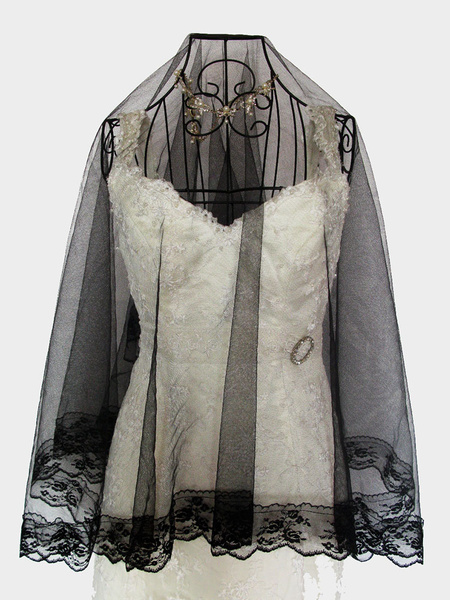 Milanoo Black Wedding Veil Lace Applique One Tier Tulle Bridal Veil