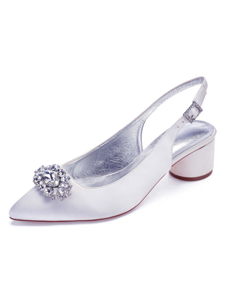 Milanoo Satin Wedding Shoes Purple Pointed Toe Rhinestones Chunky Heel Mother Shoes
