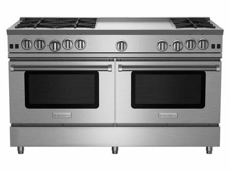 RNB606GV2LCPLT 60 RNB Series Freestanding Gas Range with 6 Cast Iron Open Burners  4.5 Cu. Ft. Convection Oven  24 Griddle  Simmer Burner  Full