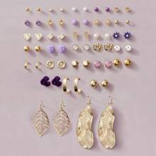 30 Paar Blatt & Blumendekor Ohrringe Set