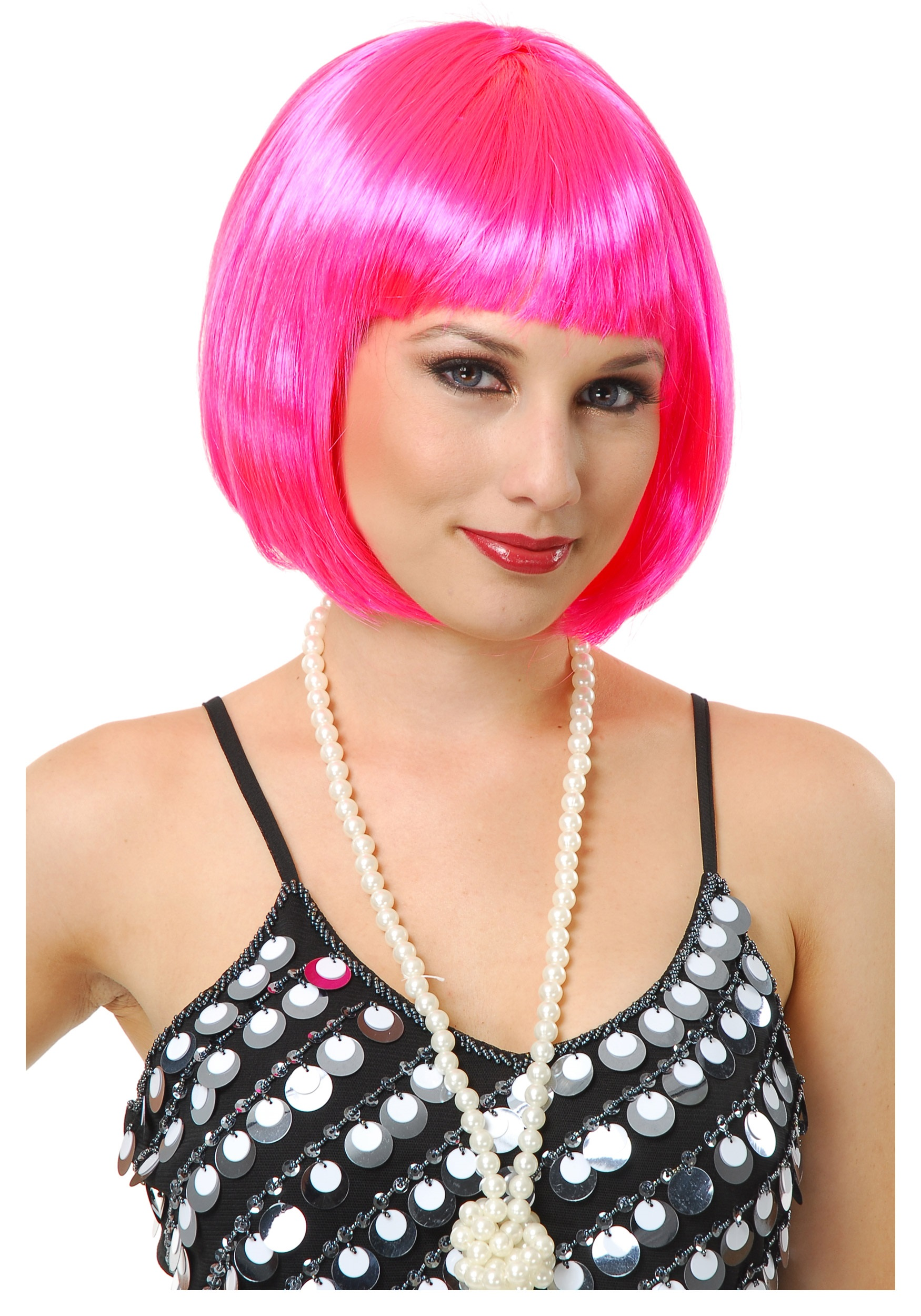 Womens Short Bob Hot Pink Wig