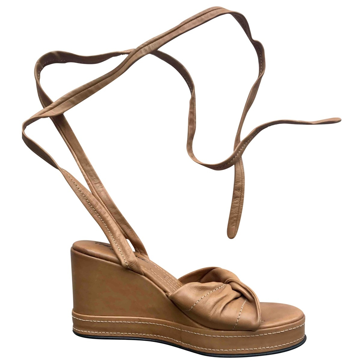Free Lance - Sandales   pour femme en cuir - camel