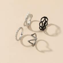 4 piezas anillo con perla artificial