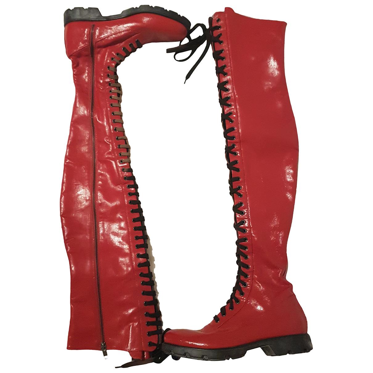 Moncler - Bottes   pour femme en cuir - rouge