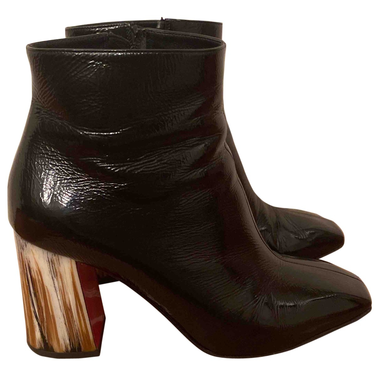 Christian Louboutin - Boots   pour femme en cuir verni - noir
