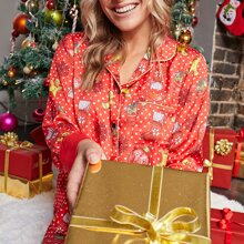 Plus Christmas Print Patch Pocket Blouse & Pants PJ Set