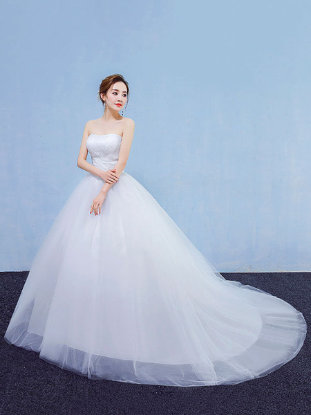Milanoo Princess Wedding Dresses Ball Gown White Lace Tulle Strapless Bridal Dress