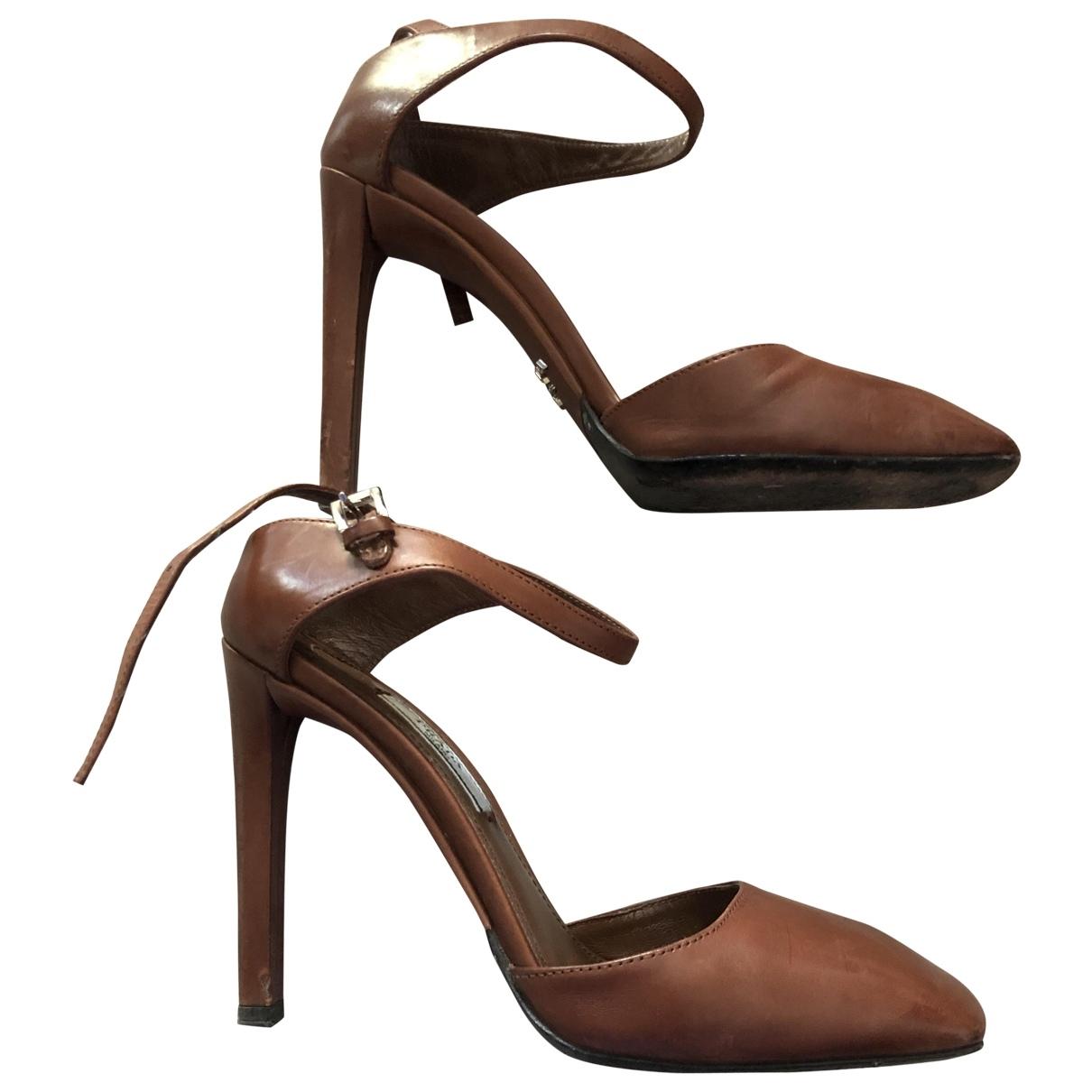 Prada \N Camel Leather Heels for Women 37 IT