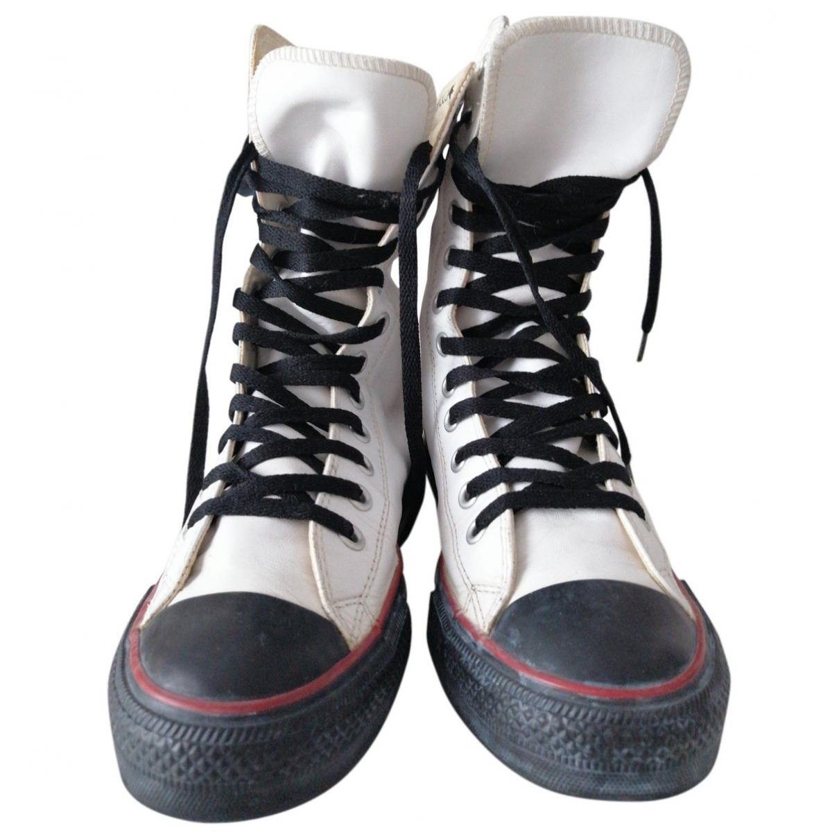 Converse - Boots   pour femme en cuir - blanc