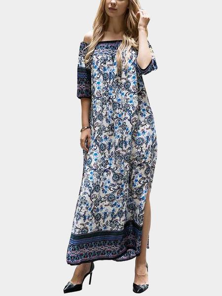 Yoins Navy Boho Floral Print Off-The-Shoulder Slit Side Maxi Dress