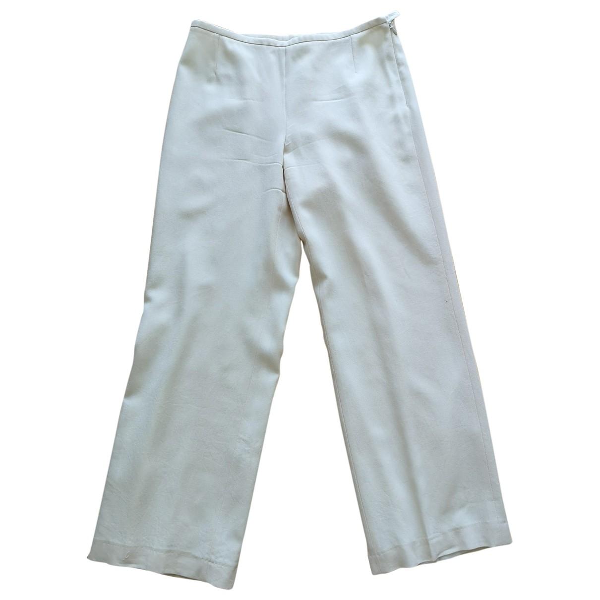 Giorgio Armani \N Beige Wool Trousers for Women 42 IT