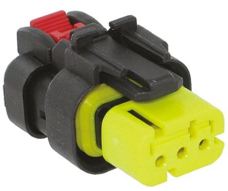 TE Connectivity , AMPSEAL 16 Automotive Connector Plug 1 Row 3 Way, Crimp Termination, Yellow