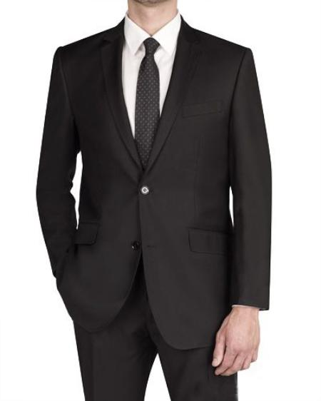 2 Button Black Italian Designed Fabric Slim Fit Suit Mens