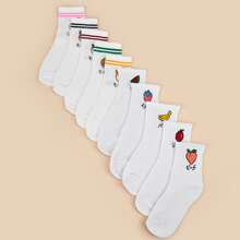 10pairs Toddler Girls Fruit Pattern Socks