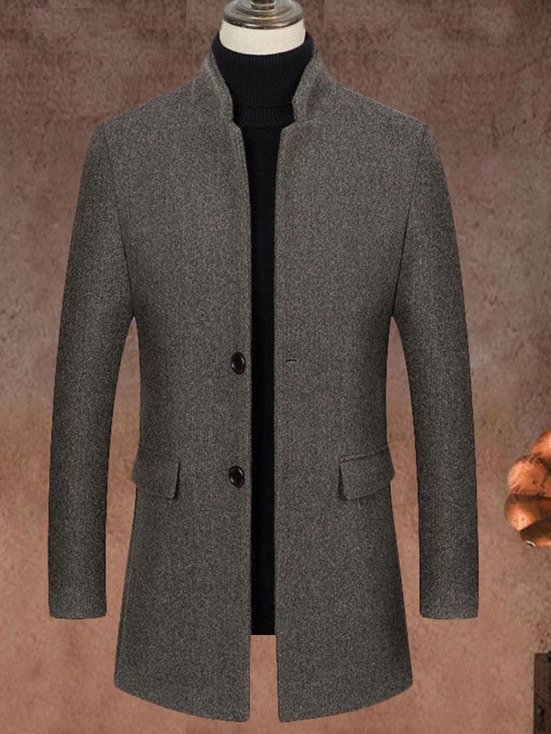 Ericdress Mid-Length Plain Stand Collar Slim Fall Coat