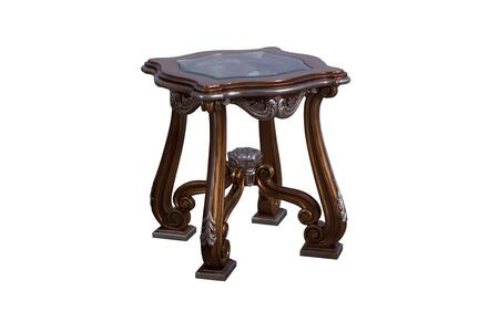 Tiziano Collection Side Table  Mahogany Wood Solid  Hand Made & Carved  in Parisian Brown Light Gold and Antique