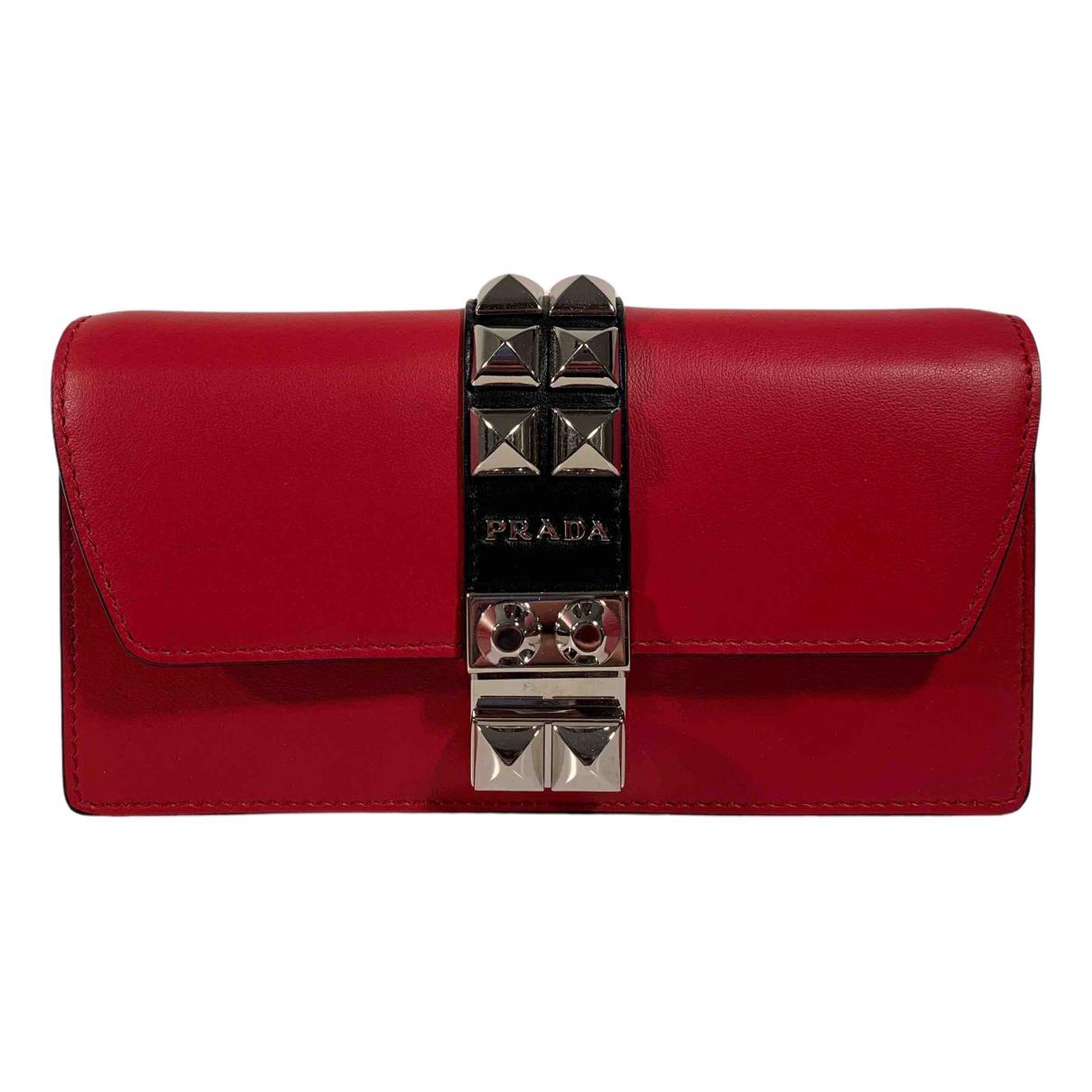 Prada - Pochette Elektra pour femme en cuir - rouge