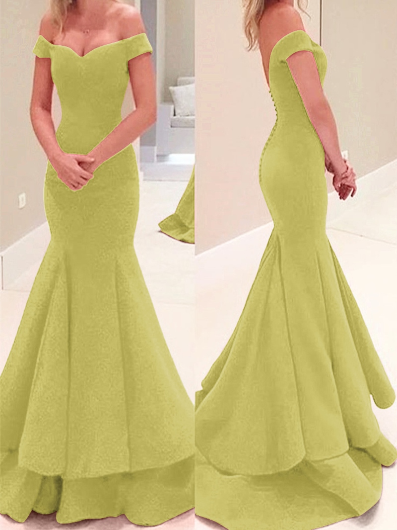 Ericdress Off The Shoulder Button Mermaid Evening Dress
