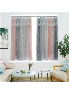 Princess Style Star Hollowed-out Beautiful Cloth and White Voile Sewing Together Blackout Curtains